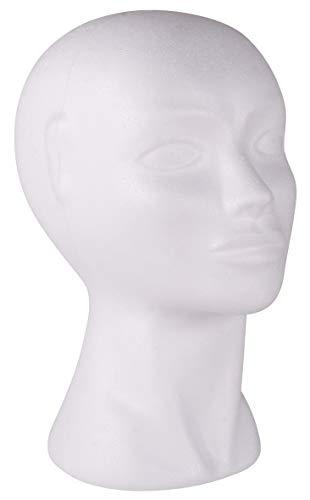 Rayher 3396700 Cabeza maniquí de Mujer, poliestireno, Alto 29 cm, para Pelucas, complementos y Costura