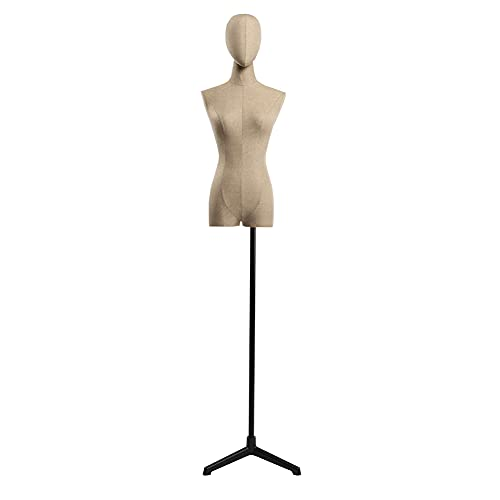 Maniquí De Costura Busto Maniquies Mujer Tela De Lino Para Exhibición De Ropa Altura Ajustable