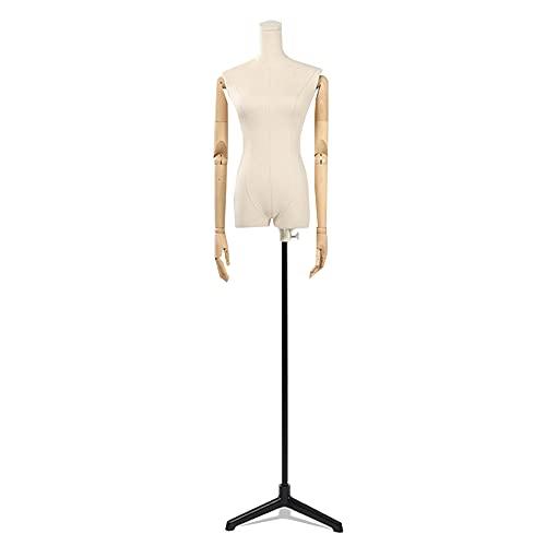 Maniquí De Costura Busto Maniquies Mujer Con Brazos De Madera Maciza Base De Metal Para Exhibición Tiendas De Ropa,Altura Ajustable,A