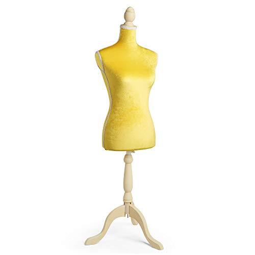 Beautify - Maniquí de terciopelo para mujer con altura ajustable y soporte para trípode, talla 38/10 amarillo