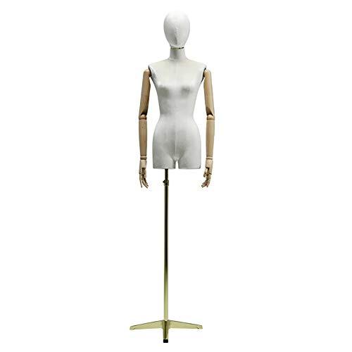 TQJ Maniquies para Costura Sastres maniquí maniquí de Tienda de Ropa Modelo maniquíes con Metales Ventana Base Estante de exhibición Maniquies Escaparate (Color : White, Size : Gold)