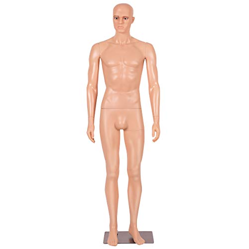 COSTWAY Maniquí Masculino Realista Regulable Maniquí de Costura de Hombre de Platico con Base de Metal para Tienda Ropa Estudios Centro Comercial