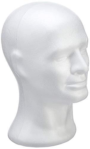 Rayher 3396600 Cabeza maniquí de Hombre, poliestireno, Alto 30.5 cm, para Pelucas, complementos y Costura