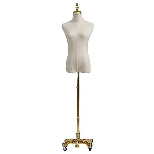 Maniquí Femenino De Costura Busto De Señora Desmontable Altura Ajustable Adecuado for Ropa Joyas Mostrar (Color : Gold, Size : M)