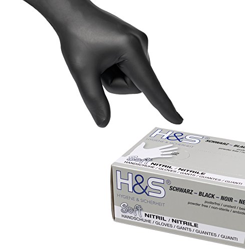 100 Guantes de Nitrilo de ISC H&S, sin polvo, en Small, Medium, Large, y X-Large. Desechables, sin látex, sin polvo, son ideales para manipular alimentos. (M, negro)