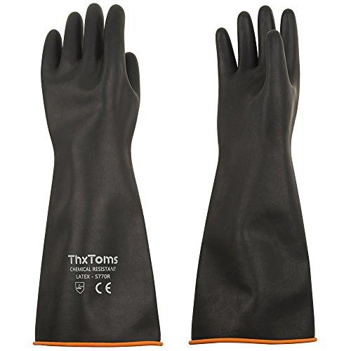 ThxToms Guantes de goma resistentes a productos químicos, guantes de látex duraderos, resistentes a ácidos fuertes, lejías y aceite, negro, 14 ', 18', 22 '(14')