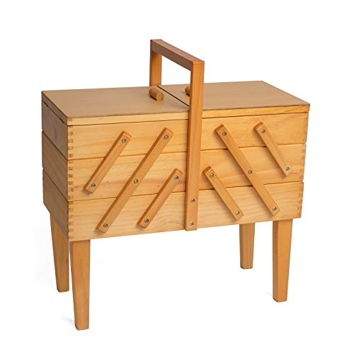 Hobbygift 3-Tier Cantilever–Caja de Costura con Patas, Madera, lámpara de Techo de Madera/Beige