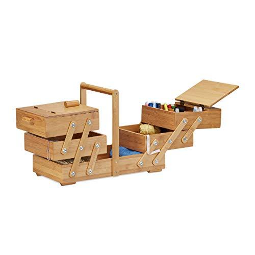 Relaxdays Caja de Costura Grande con Compartimentos, Bambú, Beige, 22 x 44 x 30 cm