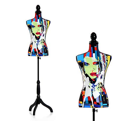 HOMCOM Maniquí Femenino de Costura Busto de Señora para Modistas Exhibición con Altura Ajustable a 130-168 cm Base de Trípode Negro